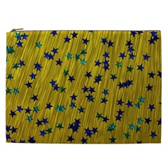 Abstract Gold Background With Blue Stars Cosmetic Bag (xxl)