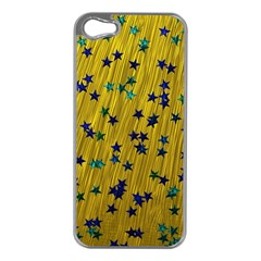 Abstract Gold Background With Blue Stars Apple Iphone 5 Case (silver)