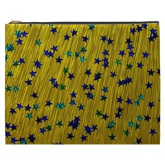 Abstract Gold Background With Blue Stars Cosmetic Bag (XXXL)