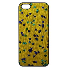 Abstract Gold Background With Blue Stars Apple Iphone 5 Seamless Case (black)