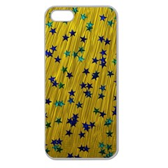 Abstract Gold Background With Blue Stars Apple Seamless iPhone 5 Case (Clear)