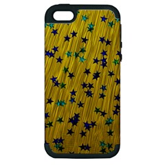 Abstract Gold Background With Blue Stars Apple iPhone 5 Hardshell Case (PC+Silicone)