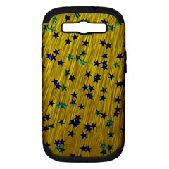 Abstract Gold Background With Blue Stars Samsung Galaxy S Iii Hardshell Case (pc+silicone)