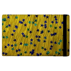 Abstract Gold Background With Blue Stars Apple iPad 3/4 Flip Case