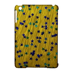 Abstract Gold Background With Blue Stars Apple iPad Mini Hardshell Case (Compatible with Smart Cover)