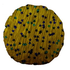Abstract Gold Background With Blue Stars Large 18  Premium Round Cushions