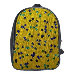 Abstract Gold Background With Blue Stars School Bags (XL)