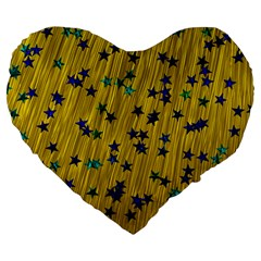 Abstract Gold Background With Blue Stars Large 19  Premium Heart Shape Cushions