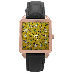 Abstract Gold Background With Blue Stars Rose Gold Leather Watch