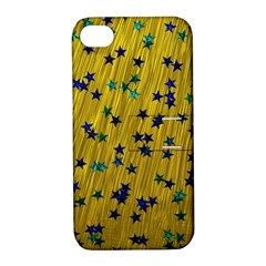 Abstract Gold Background With Blue Stars Apple iPhone 4/4S Hardshell Case with Stand