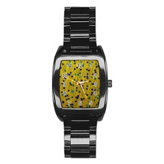 Abstract Gold Background With Blue Stars Stainless Steel Barrel Watch