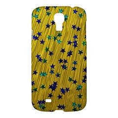 Abstract Gold Background With Blue Stars Samsung Galaxy S4 I9500/i9505 Hardshell Case