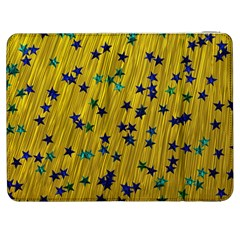 Abstract Gold Background With Blue Stars Samsung Galaxy Tab 7  P1000 Flip Case
