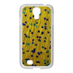 Abstract Gold Background With Blue Stars Samsung GALAXY S4 I9500/ I9505 Case (White)