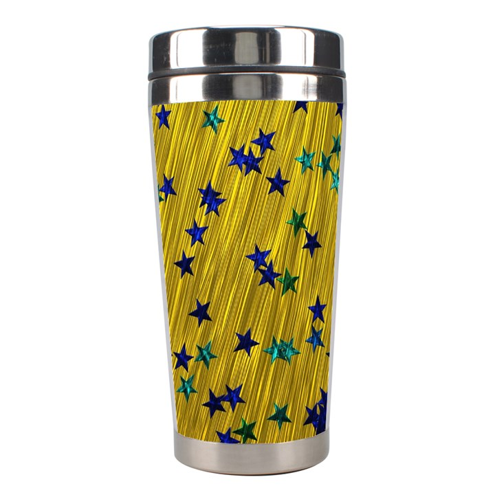Abstract Gold Background With Blue Stars Stainless Steel Travel Tumblers