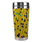 Abstract Gold Background With Blue Stars Stainless Steel Travel Tumblers Center