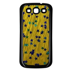 Abstract Gold Background With Blue Stars Samsung Galaxy S3 Back Case (Black)