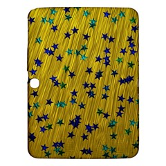 Abstract Gold Background With Blue Stars Samsung Galaxy Tab 3 (10.1 ) P5200 Hardshell Case