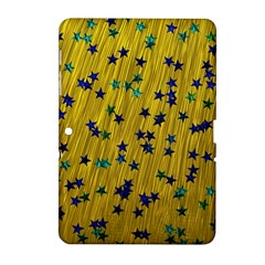 Abstract Gold Background With Blue Stars Samsung Galaxy Tab 2 (10.1 ) P5100 Hardshell Case