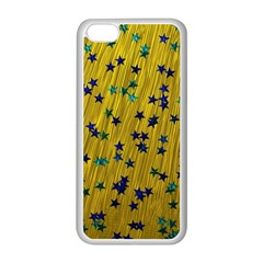 Abstract Gold Background With Blue Stars Apple iPhone 5C Seamless Case (White)
