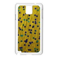 Abstract Gold Background With Blue Stars Samsung Galaxy Note 3 N9005 Case (White)