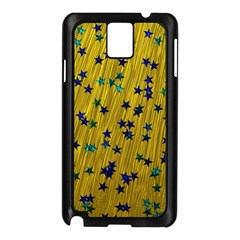 Abstract Gold Background With Blue Stars Samsung Galaxy Note 3 N9005 Case (black)