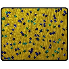 Abstract Gold Background With Blue Stars Double Sided Fleece Blanket (Medium)