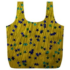 Abstract Gold Background With Blue Stars Full Print Recycle Bags (L)