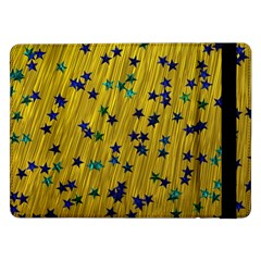 Abstract Gold Background With Blue Stars Samsung Galaxy Tab Pro 12 2  Flip Case