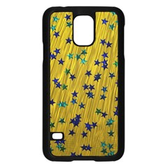 Abstract Gold Background With Blue Stars Samsung Galaxy S5 Case (Black)