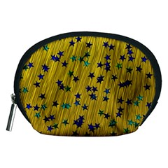 Abstract Gold Background With Blue Stars Accessory Pouches (Medium)