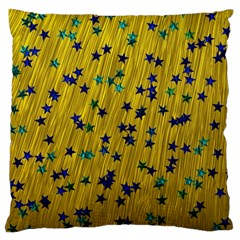 Abstract Gold Background With Blue Stars Large Flano Cushion Case (Two Sides)
