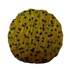 Abstract Gold Background With Blue Stars Standard 15  Premium Flano Round Cushions