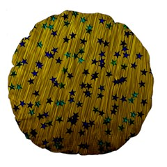 Abstract Gold Background With Blue Stars Large 18  Premium Flano Round Cushions