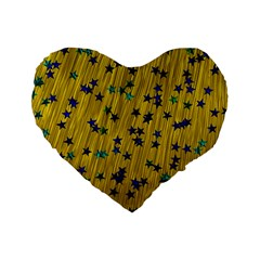 Abstract Gold Background With Blue Stars Standard 16  Premium Flano Heart Shape Cushions