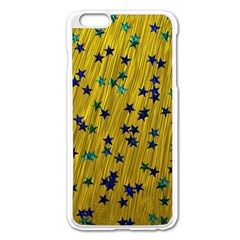 Abstract Gold Background With Blue Stars Apple iPhone 6 Plus/6S Plus Enamel White Case