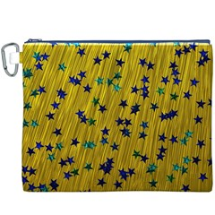 Abstract Gold Background With Blue Stars Canvas Cosmetic Bag (XXXL)