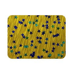 Abstract Gold Background With Blue Stars Double Sided Flano Blanket (Mini)