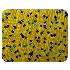 Abstract Gold Background With Blue Stars Double Sided Flano Blanket (medium)