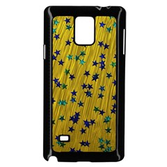 Abstract Gold Background With Blue Stars Samsung Galaxy Note 4 Case (Black)