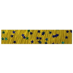 Abstract Gold Background With Blue Stars Flano Scarf (Small)