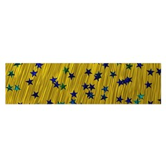 Abstract Gold Background With Blue Stars Satin Scarf (oblong)
