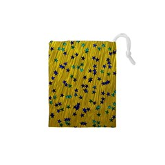 Abstract Gold Background With Blue Stars Drawstring Pouches (xs)