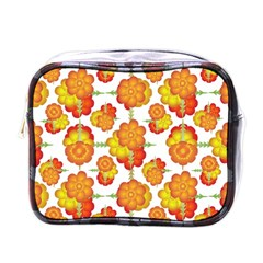 Colorful Stylized Floral Pattern Mini Toiletries Bags