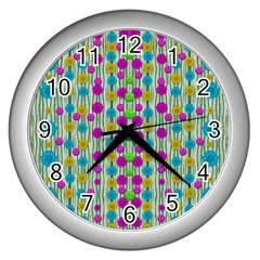 Wood And Flower Trees With Smiles Of Gold Wall Clocks (Silver)