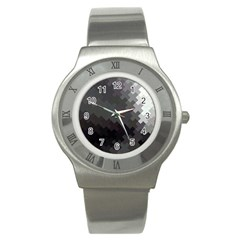 Abstract Pattern Moving Transverse Stainless Steel Watch