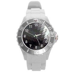 Abstract Pattern Moving Transverse Round Plastic Sport Watch (l)