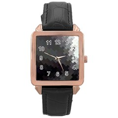 Abstract Pattern Moving Transverse Rose Gold Leather Watch