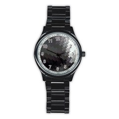 Abstract Pattern Moving Transverse Stainless Steel Round Watch