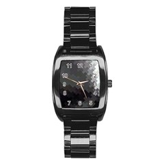 Abstract Pattern Moving Transverse Stainless Steel Barrel Watch